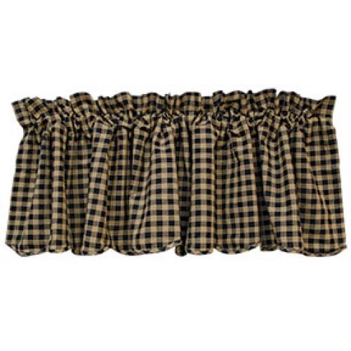 Cantonnière champêtre en tissu à carreaux