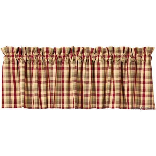 Cantonnière en tissu à carreaux